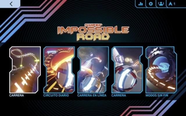 Menú Super Impossible Road