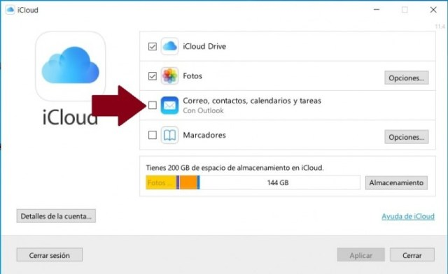 Activar iCloud en Outlook