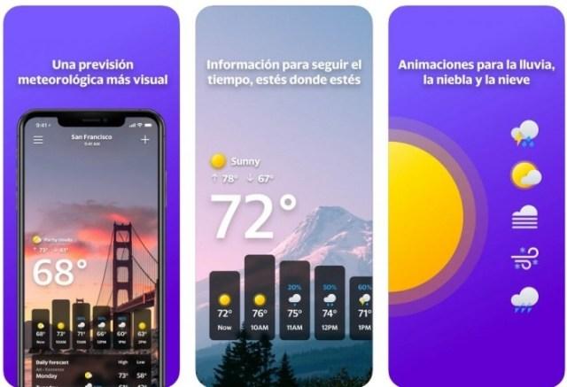 app iOS Yahoo! Tiempo