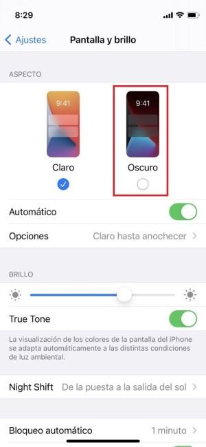 Activar el modo oscuro en iOS 14