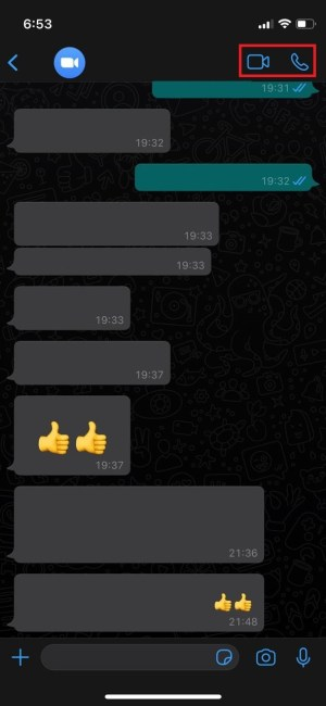 Iniciar llamada y videollamada en WhatsApp