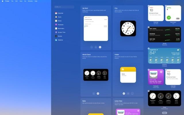 Diferente acomodo de widgets macOS Big Sur