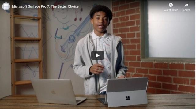 Microsoft compara la Surface 7 con el MacBook Pro