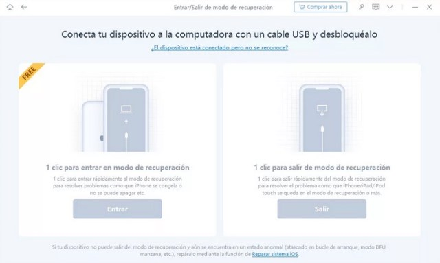 Conectar dispositivo iOS para aplicar modo DFU