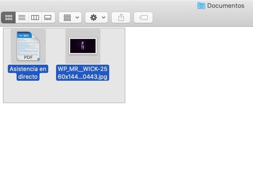 Seleccionar archivos con trackpad o mouse