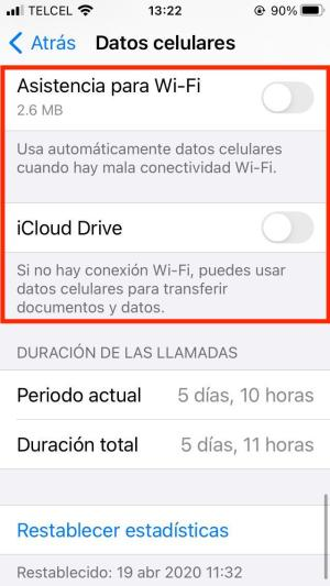 Ajustes iPhone datos celulares