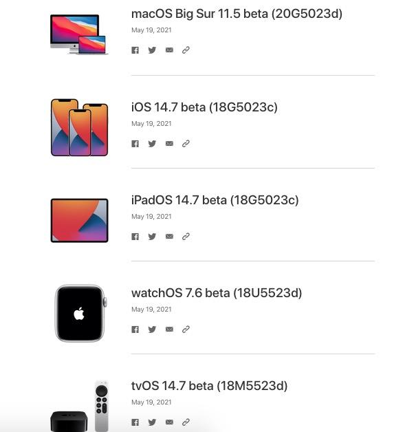 iOS 14.7 beta 1 y mas sistemas operativos