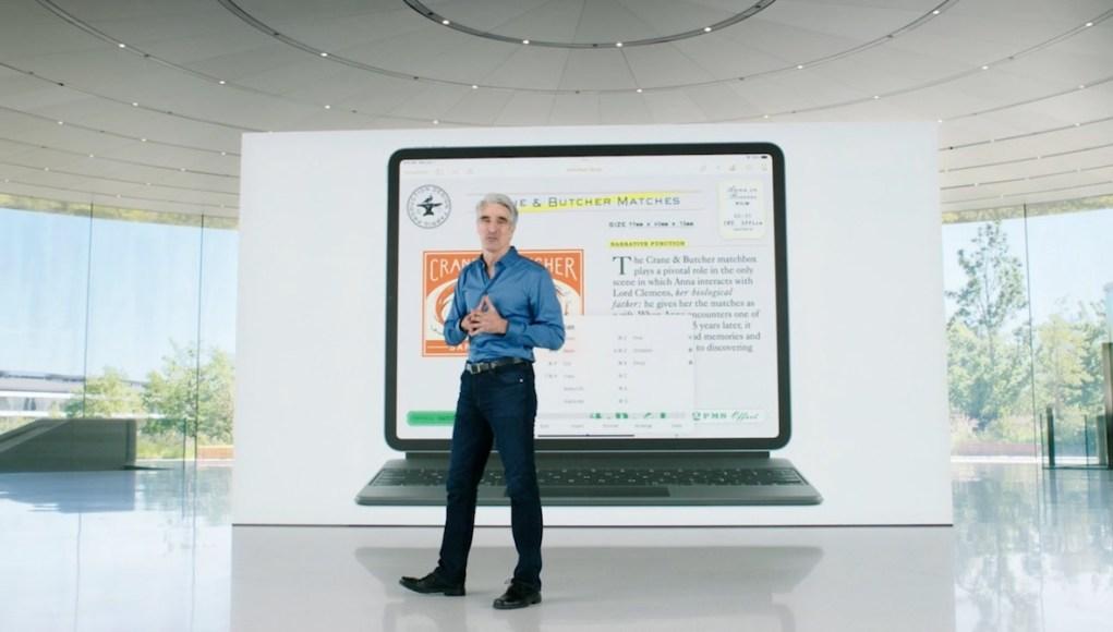 Craig Federighi con iPad Pro