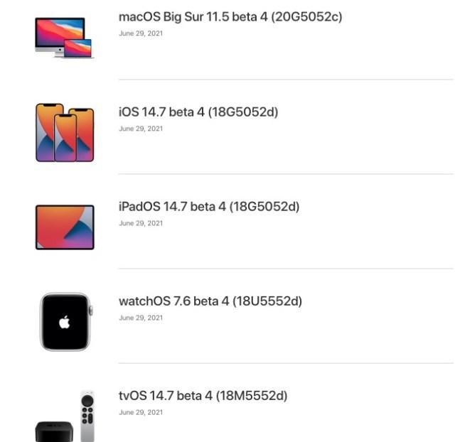 iOS 14.7 beta 4 y mas sistemas operativos