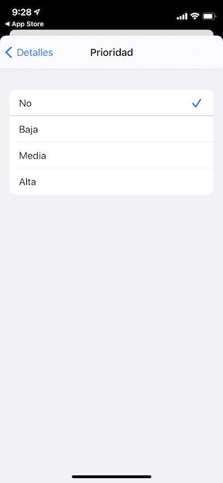 Recordatorios en el iPhone: prioridad en las tareas.
