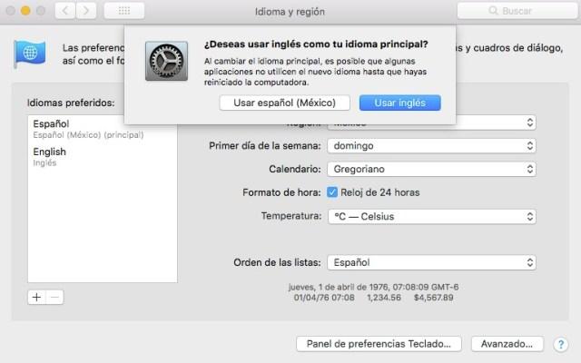 Cambiar idioma principal en macOS