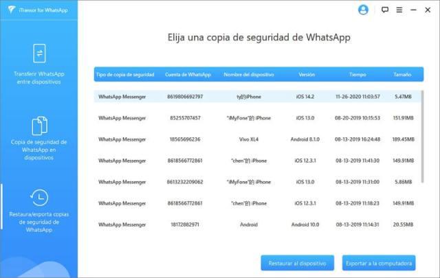Restaurar chats de una copia de seguridad WhatsApp