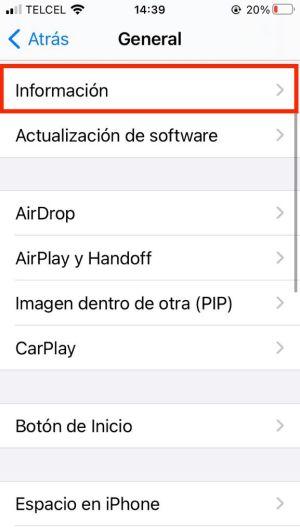 Informacion general de iPhone