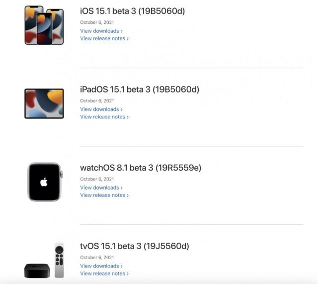 iOS 15.1 beta 3 y mas