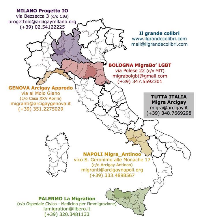 Mappa degli sportelli per migranti LGBT