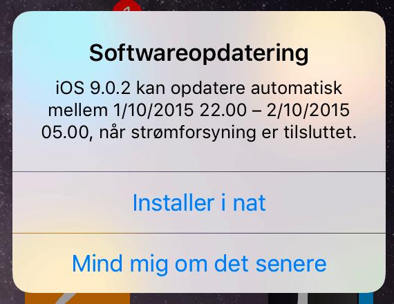 iOS 9 kan nu opdatere senere, så du kan vågne op til en opdateret enhed.