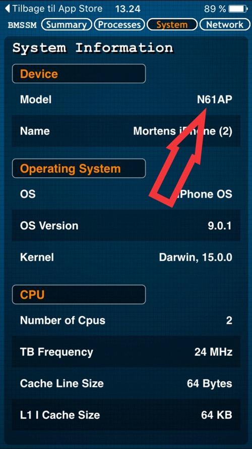 Her kan du se model nummeret på din iPhone, som hjælper dig til at finde ud af hvilken chip der er indbygget