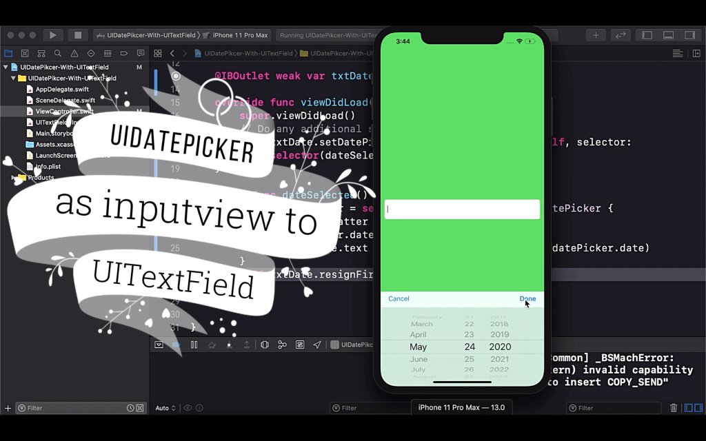 Add UIDatepicker as inputview to UITextField