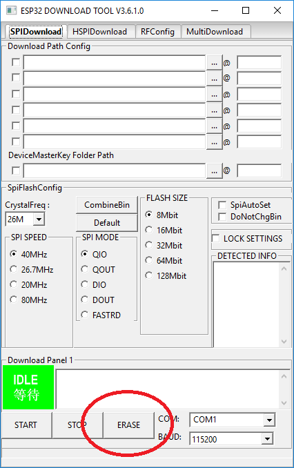 Erase ESP32 flash completely using Flash Download Tool