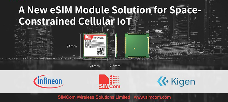 SIMCom announces the smallest eSIM-enabled module for space-constrained cellular IoT