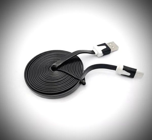 USB A micro USB 3m lapos fekete kábel / flat black cable