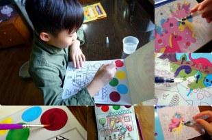 小孩好專心 Search and Find找找水畫冊 還有Painting Magic神奇調色盤著色本