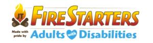 JT's Firestarters. Adults with Disabilities. Fire logo.