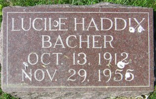 Lucille Bacher tombstone