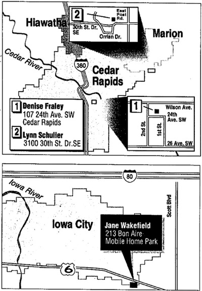 Gazette map showing Wakefield, Schuller, Fraley disappearances