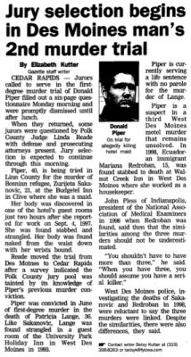 Cedar Rapids Gazette story from Jan. 8, 2002
