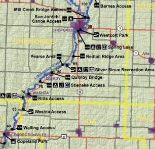 The Washta Access is shown (Courtesy Iowa DNR)
