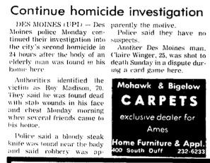 Courtesy the Ames Daily Tribune, Dec. 19, 1972