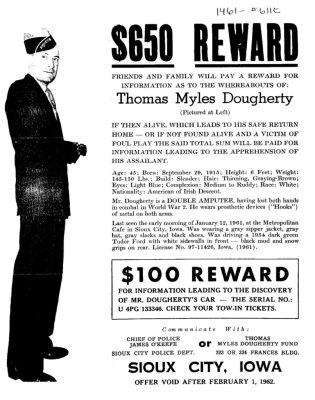 Thomas Myles Dougherty Reward Poster