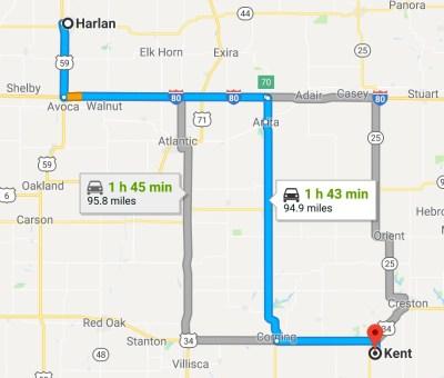 Harlan to Kent, IA, Google map
