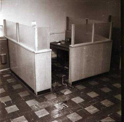 Fred Coste bank cubicle where he was slain