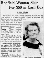 Myrtle Cumpston story in Des Moines Register