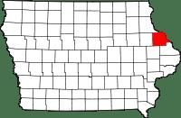 Iowa map showing Dubuque County