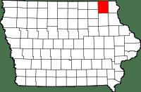 Map of Winneshiek County in Iowa