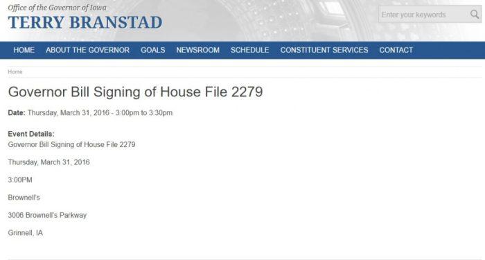 HF2279 Governor signature