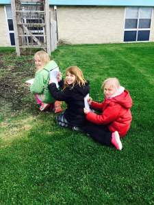 """Turkey Valley 3rd grade students using the garden to make observations about their common core topic - """"living things."""""""