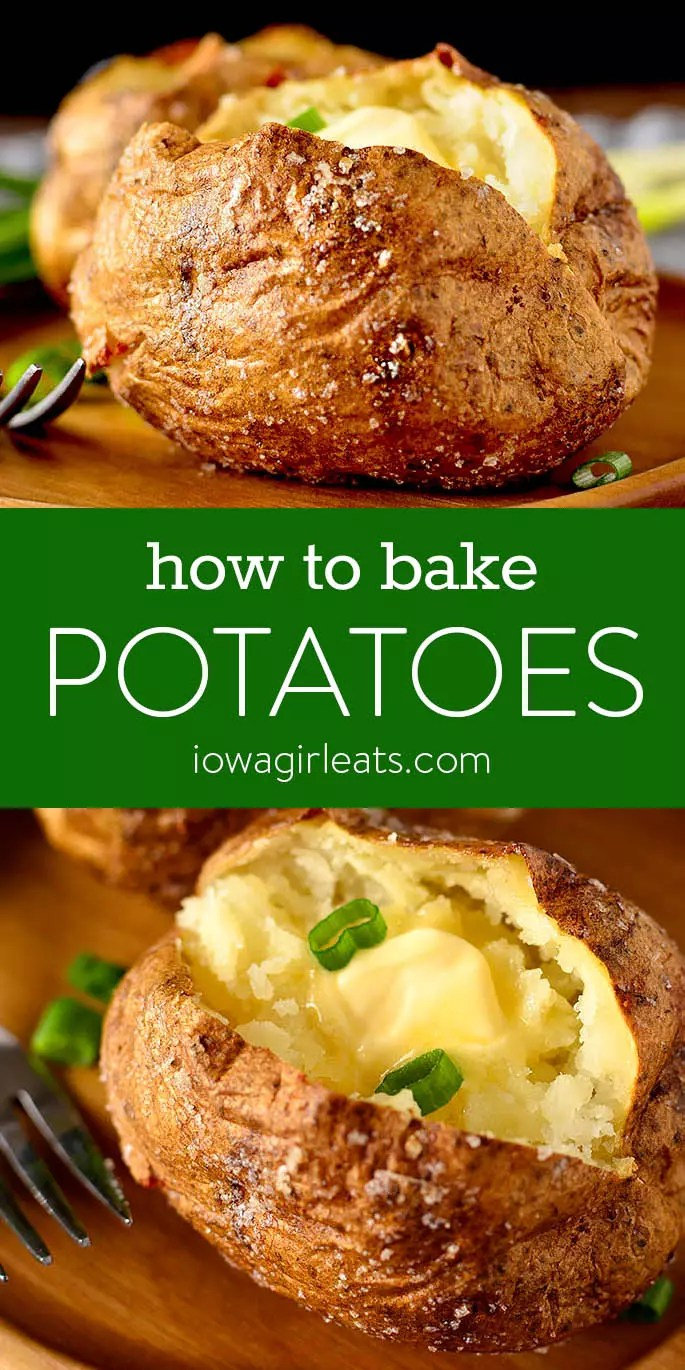 Photo collage of how to bake a potato