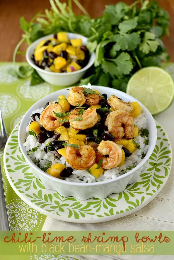 Chili-Lime Shrimp Bowls with Black Bean-Mango Salsa | iowagirleats.com
