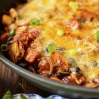 (Really, Really Good) Black Bean and Sweet Potato Chicken Enchilada Skillet (Video)