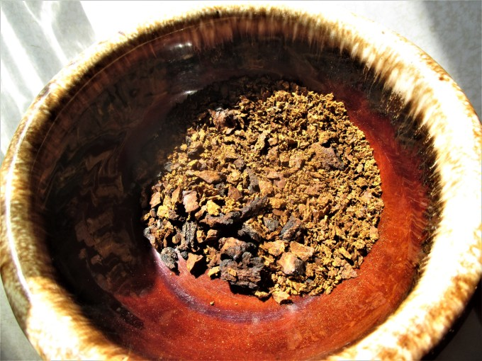 Grinding Chaga | Iowa Herbalist