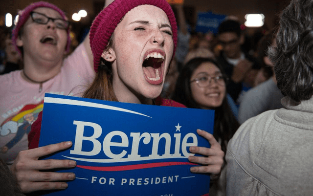 Liv Helman, 18, traveled from South Bend, Indiana, to attend Sanders' final caucus event in Iowa. Photo: Jon Lemons/Iowa Informer