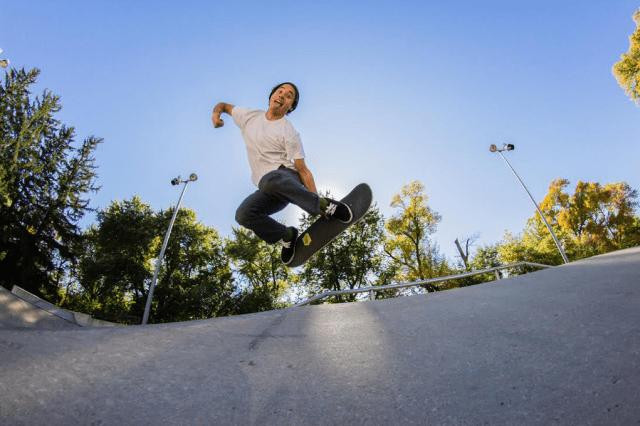 Tsushima at the Ames skate park. Photo: Josh Kelley