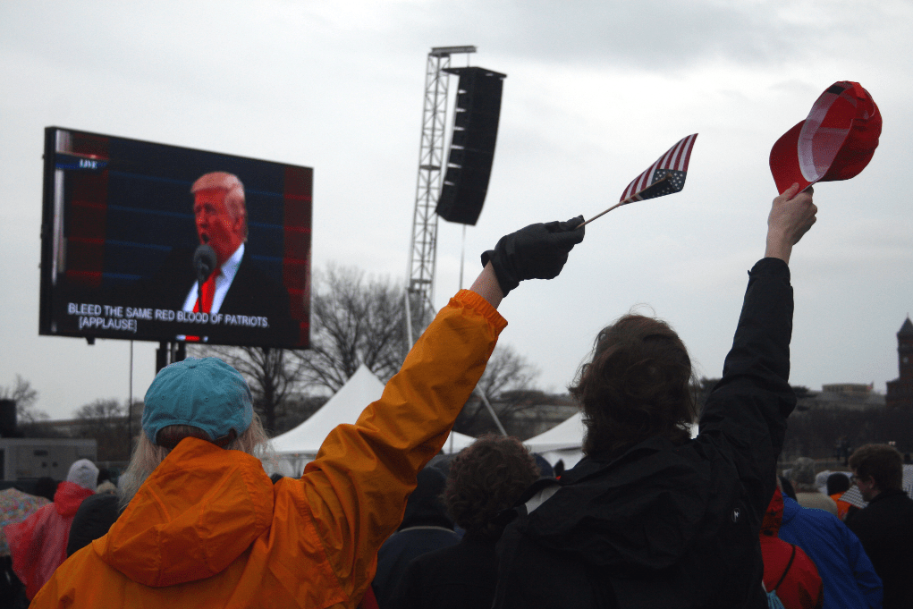 """It's time to remember that old wisdom our soldiers will never forget, that whether we are black or brown or white, we all bleed the same red blood of patriots,"" Trump said in an inaugural address heavy on nationalistic themes. Photo: Gavin Aronsen/Iowa Informer"