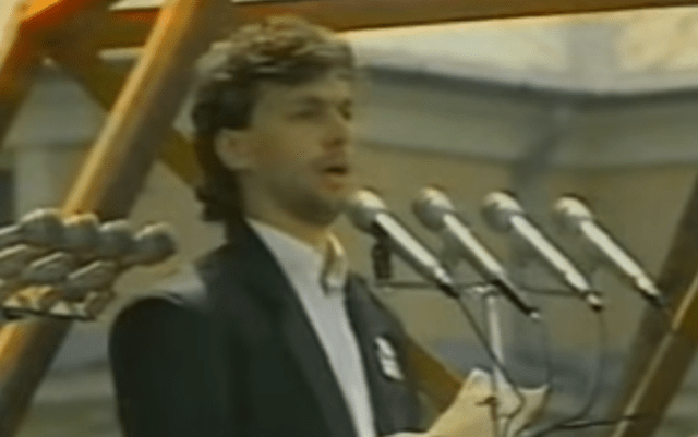 Viktor Orban in 1989. Image: YouTube screenshot