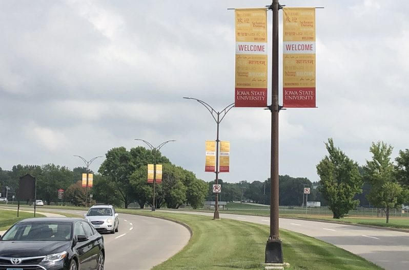 "Banners saying ""Welcome"" in multiple languages at Iowa State University promoted inclusivity and acceptance as students returned to campus in August. Photo: Lauren Wade/IowaWatch.org"