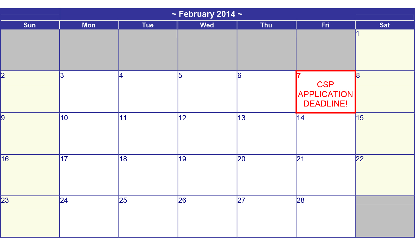 Update Deadline For Csp Applications Has Been Extended To
